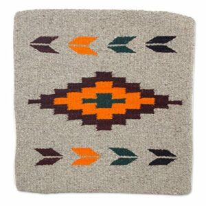 NOVICA Gris et Orange géométrique Zapotec Coussin en Laine Couverture, « Oaxaca Sun » Gris Orange