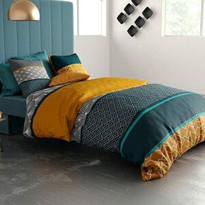 Parure de lit Housse de Couette avec 2 taies d'oreiller 100% Coton 57 Fils Lupin : Taille – 240 x 260 cm