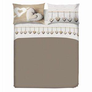 PENSIERI DELICATI Parure de lit 2 Places 100% Coton, 180×200 avec Drap inférieur, Drap supérieur et 2 taies d'oreiller, Made in Italy, Motif Coeur Suspendu Beige