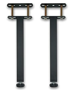 Pieds de Sommier, Pied de Lit, Pieds pour Sommier à Lattes Universel   Hauteur: 25 cm(+2cm) Reglable, 15-35cm en Option   Design: Noir   Matériel: Metal   Carré: 3 x 3cm   pour Les Cadres   Lot de 2
