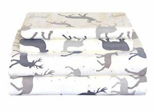 Pointehaven Lourd Flanelle de lit, Double, Automne Cerf, Autumn Deer, Twin XL