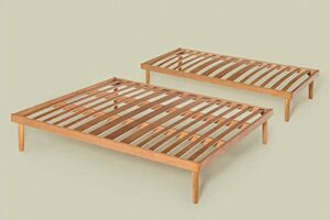Sommier pour lit 2 places fixe orthopédique 160 x 200 cm Lattes en bois massif de hêtre – Pieds 25 cm