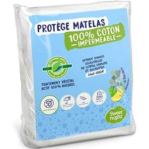 Sweetnight – Protège Matelas 2x80x200 cm Greenfirst® | Traitement Végétal : Actif 100% Naturel et Anti-Acariens | Alèse Imperméable | Molleton 100% Coton | Absorbant et Silencieux