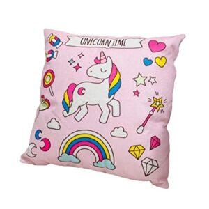 Taie d'oreiller imprimé de cheval mignon Coussin de coussin d'animaux coloré Couverture de coussin de coton et de draps durable boîtier de canapé carré de dessin animé (rose sous-vent)