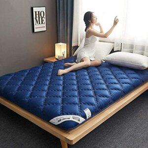 Tapis de sol futon doux,futon traditionnel japonais,futon plus épais pliable,housse de matelas antidérapante,respirante et douce pour la peau (Couleur : Bleu, Taille : King)