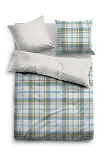 TOM TAILOR 0009713 Parure de lit avec taie d'oreiller en flanelle 1x 155×200 cm + 1x 80×80 cm, indigo blue