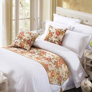 XZJJZ Chemin de lit Classique européen, adapté au Linge de lit pour lit et Petit-déjeuner personnalisé, Auberge, Chambre et Chambre d'hôtel, Or Riche 50x180cm