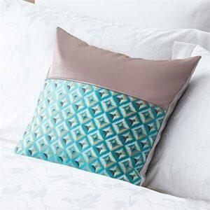 XZJJZ Chemin de lit Cousu Bleu et Rose, Tissus de Haute précision, décorations adaptées aux Chambres d'hôtes personnalisées, Auberge, Chambre et Chambre d'hôtel 50x50cm