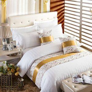 XZJJZ Chemin de lit, Couvre-lit de décoration de lit Moderne de Luxe élégant sans décoloration adapté à la Chambre d'hôtel de Chambre à Coucher avec canapé, Rayures dorées 50x180cm